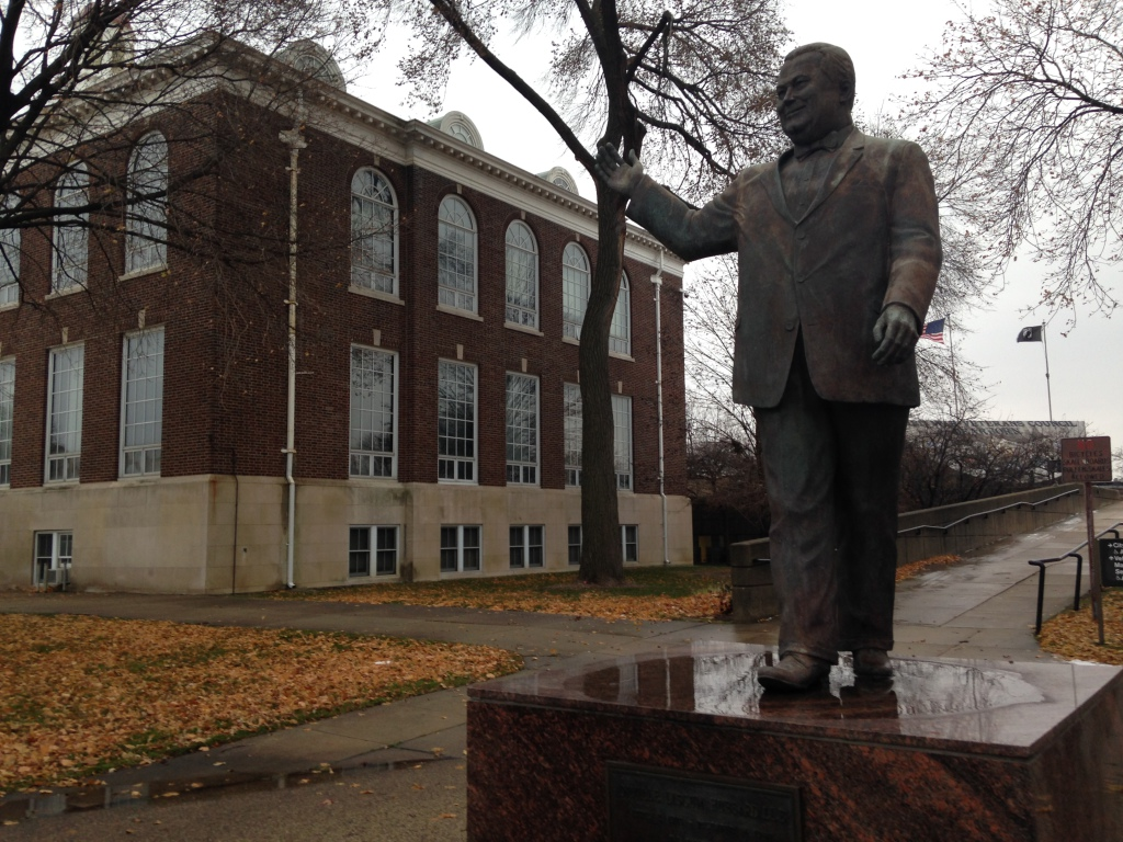A memorial statue of former mayor Orville Hubbard is located in front of Dearborn's former City Hall.