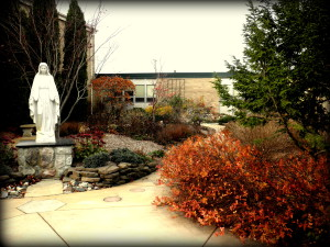 Beautiful fall scene of the St. Mary's Parish Rosary Garden