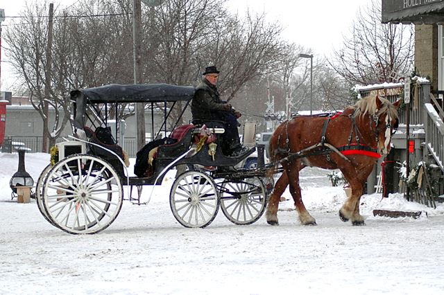 Horse drawn carriage during the Dickens Festival in Holly.