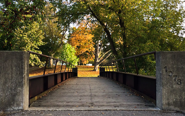 Bridge crossing over Paint Creek in the Rochester Municipal Park