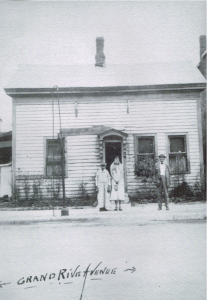 Photo taken in 1925, depicting the first frame house built in Brighton (1840). (Pratt, pp. 39).