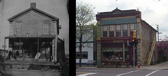 (Left) Rollin Sprague Building in 1878, when owned by Barnes and Goodison, and then the building recently (Right) as The Home Bakery