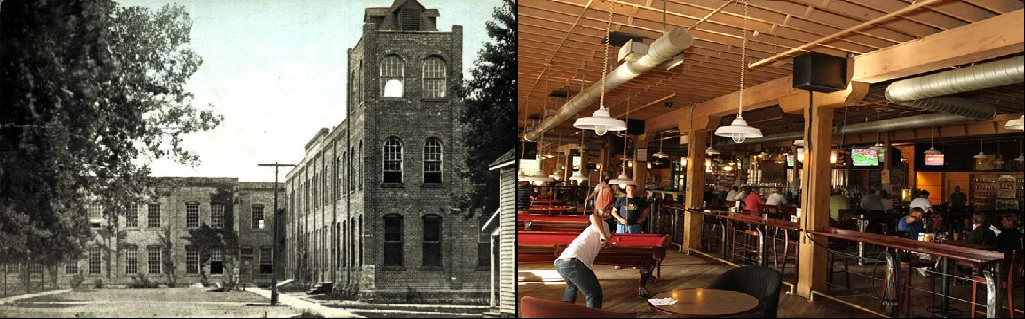 Western Knitting Mills (left), built in 1896. Today, the building is home to Rochester Mills Beer Co (right)