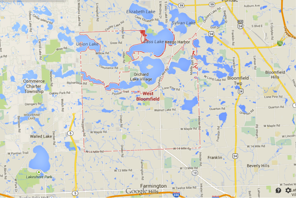 Bloomfield Michigan Map.West Bloomfield Geography Described Michigan History