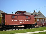 This is the caboose moved to the Historical Park in 1982. It is a Chesapeake & Ohio caboose from 1926 and is furnished how it would have looked during operation.
