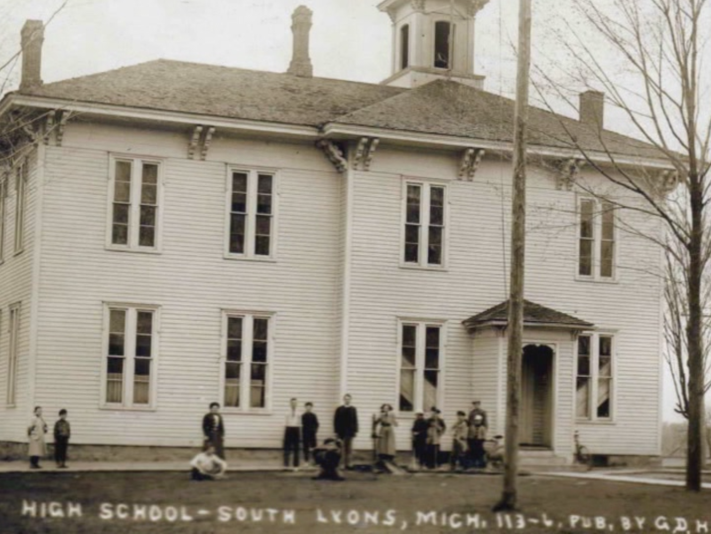 "The original wooden South Lyon School built in 1876. Credit to ""As Time Goes By"", South Lyon Area Historical Society"