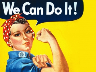 Rosie the Riveter, a cultural icon representing women who worked in factories and shipyards during WWII.