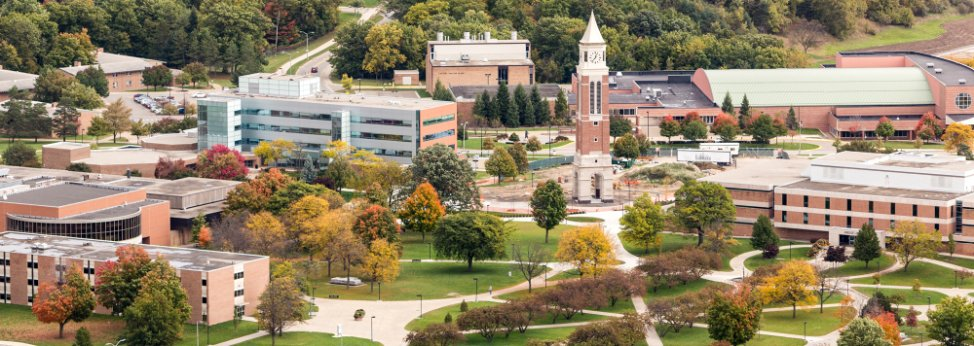 An aerial photograph of OU's campus including the Hugh and Nancy Elliot Tower.